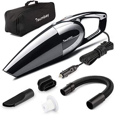 Tsumbay Car Vacuum, 5000PA Strong Suction Car Vacuum Cleaner 120W High Power Handheld Vacuum for Car, DC 12V Corded Car Vacuum Wet/Dry Car Dustbuster w/ 14.8 Feet Power Cord, Carry Bag from Tsumbay