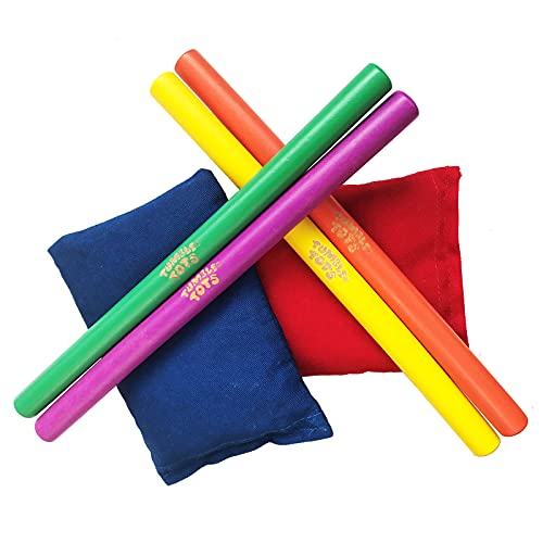 4 Lummi Sticks and 2 Bean Bags from Tumble Tots