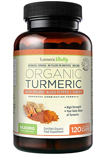 Organic Turmeric Curcumin 710mg High Strength with Piperine & Ginger for Maximum Absorption of Curcumin | 120 Veg Capsules - 100% Certified Organic - UK Made by Turmeric Vitality - Satisfaction Guaranteed from Turmeric Vitality