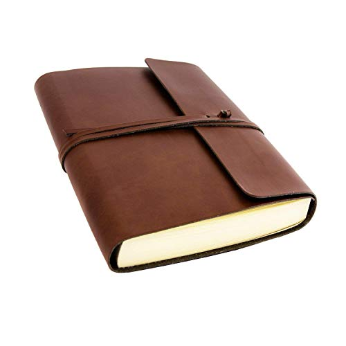 Vietri Large Recycled Leather Journal / Notebook, Handmade Classic Italian Style, A5 (15x21 cm) Brown from Tuscany Crafts