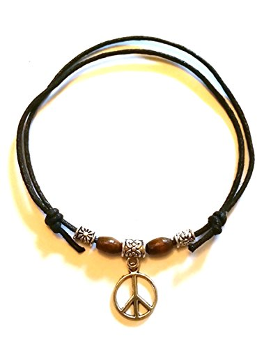 Black Leather Look Waxed Cotton Adjustable Sliding Knot Anklet / Bracelet - Surfer, Hippi, Boho, (Peace Sign) from Twilight Gifts