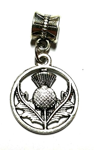 Bracelet Charm - European Bracelet Bail and Charm Wiccan, Surfer, Indie, (Scottish Thistle Charm) from Twilight Gifts