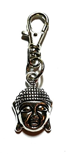 Zip Puller - Keyring, Bag Charm Clasp - Wiccan, Surfer, Indie, Bag Charms - Unisex Keyrings, Car Keychains (Buddha Head) from Twilight Gifts