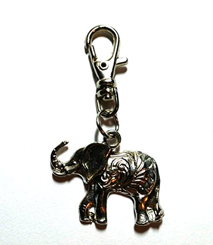 Zip Puller - Keyring, Bag Charm Clasp - Wiccan, Surfer, Indie, Bag Charms - Unisex Keyrings, Car Keychains (Indian Elephant) from Twilight Gifts