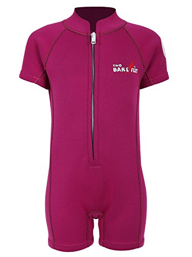 Two Bare Feet Classic Baby Wetsuit - Neoprene Swimsuit Ages 0 - 48 months (S (12-18 months), Raspberry) from Two Bare Feet