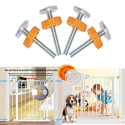 Pressure Mounted Baby Gates Threaded Spindle Rods,4Pcs Spindle Screw Mounted Bolts Kit for Stair Gates Dog Gate from Twshiny