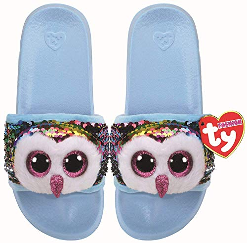 Ty TY95633 Owen the Owl Sequins Medium Plush Slippers - Multicoloured from Ty