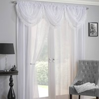 Crystal / Savannah Ready Made Rod Pocket Voile Panel White from Tyrone Ready Made Curtains
