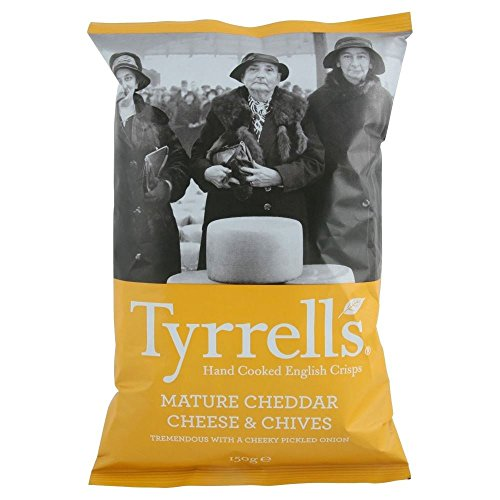Tyrrells Hand Cooked English Crisps - Mature Cheddar & Chives (150g) - Pack of 2 from Tyrrells