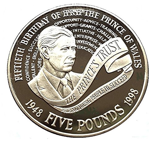 "1998 United Kingdom ""Prince Charles' 50th Birthday"" Brilliant Uncirculated Proof £5 Five Pound Crown Coin with Capsule Holder in a Pouch Wallet from U-Coins"
