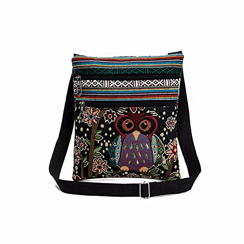 Casual Ladies Girls Embroidered Owl Print Tote Bags Women Zipper Shoulder Bag Handbags Postman Package (D) from U.Expectating