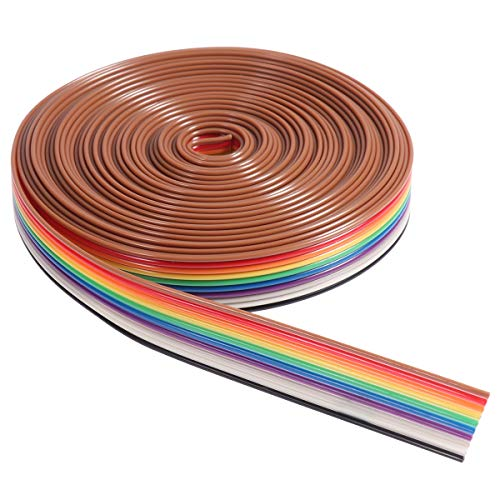 UEETEK 5M 10 Pin Rainbow Flat Ribbon Cable Wire from UEETEK