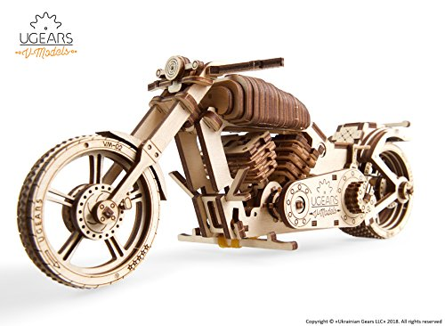 UGEARS Bike DIY Kit – Wooden Mechanical Motorcycle Project – Bike VM-02 Rubber Band Engine – For Vehicle Passionate and Bikers – Plywood Model with Wide Back Wheel – Refined Gift Idea from UGears