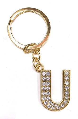 Alphabet Keyring A-Z Initials Letter Key Ring Shiny Silver Key Chain (Gold U) from UK MEGA SHOP DEALS