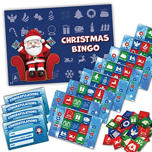 Xmas Stocking Filler - CHRISTMAS BINGO GAME- Family, Kids, Office party - 20 player - #F from UK Party Games
