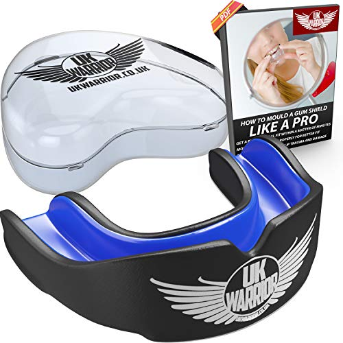 UK Warrior Gum Shield Mouth Guard Gum Guard - Ideal For Contact Sports, Martial Arts, Karate, Rugby, MMA, Boxing, Hockey, Football - Carry Case - Instructions For Boil & Bite - 100% Money Back Guarantee (Black & Blue, Junior) from UK Warrior