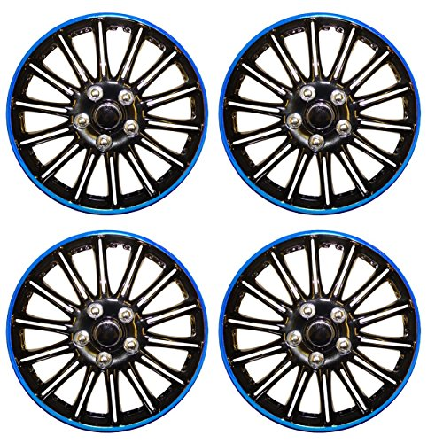 "UKB4C Set of 4 14"" Black/Blue Wheel Trims/Hub Caps fits Toyota Aygo from UKB4C"
