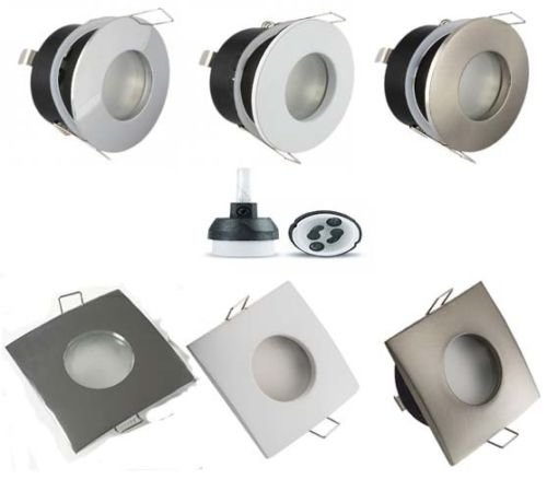 UKEW 4 x Waterproof IP44 Shower Bathroom Frosted Ceiling Spots Spotlight Downlights GU10 Fitting Round or Square For use with LED or Halogen (White (Round)) from UKEW