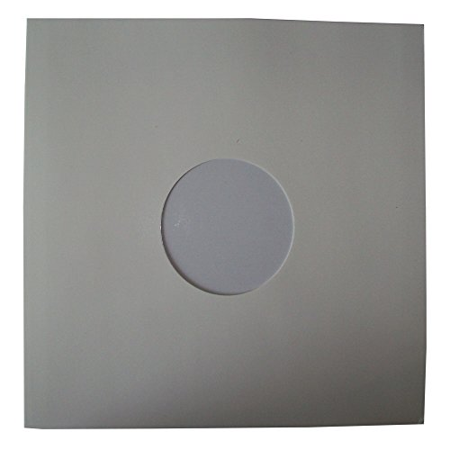 "25 Quality Large Gloss Finish White Card 12"" LP Record Vinyl Sleeves Covers Protectors with Large Centre Hole - Size 310 x 305mm - Scratch/Mark Protection - Protective Packaging from UKPS"