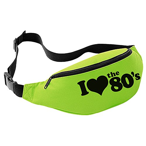 I Love the 80's Bum Bag (Lime Green with Black Print) from UKPrintwear