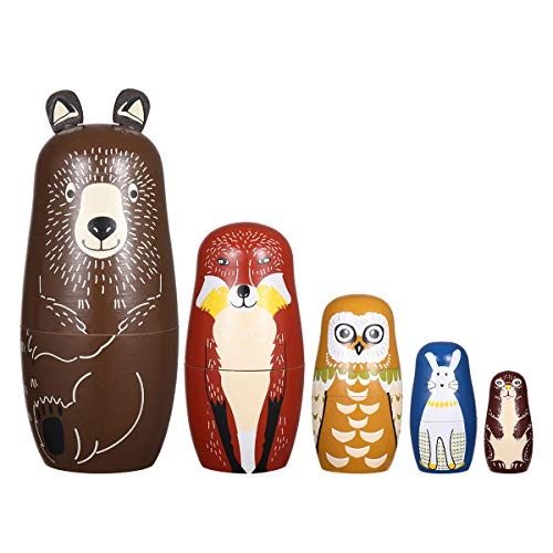 ULTNICE 5Pcs Russian Nesting Dolls Matryoshka Wood Bear Penguins Stacking Toy Doll from ULTNICE