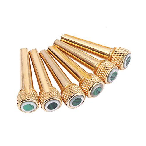 ultnice Set of 6 Acoustic Guitar Bridge Pins Brass Inlaid Abalone Dot Acoustic Guitar Bridge Pins Spare Part (GL05) from ULTNICE
