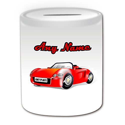 UNIGIFT Personalised Gift - Car Racing Money Box (Sport Design Theme, White) - Any Name/Message on Your Unique - Piggy Bank Saving Jar Pot - Top Gear Race from UNIGIFT