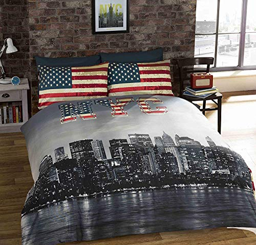 Urban Unique New York City Distressed Vintage Reversible NYC Photo Print Duvet Cover, Multi-Colour, Single from URBAN UNIQUE