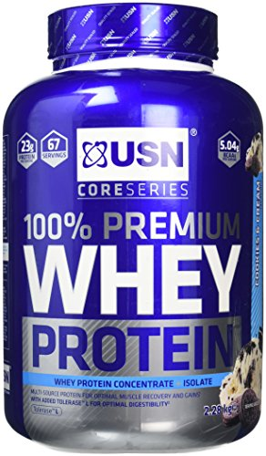 USN 100 Percent Premium Whey Protein Shake Powder, 2.28 kg, Cookies/Cream from USN