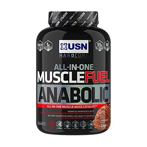 USN Muscle Fuel Anabolic Muscle Gain Shake Powder, Chocolate, 2 kg from USN