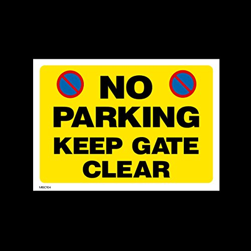 No Parking Keep Gate Clear Plastic Sign with 4 Pre-Drilled Holes (MISC104) - No Parking, Private Property, Access, Disabled Parking, Vehicle, Warning from USSP&S