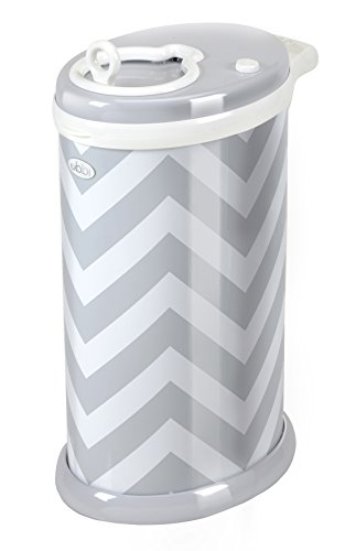 Ubbi Steel Nappy Bin, Grey Chevron from Ubbi