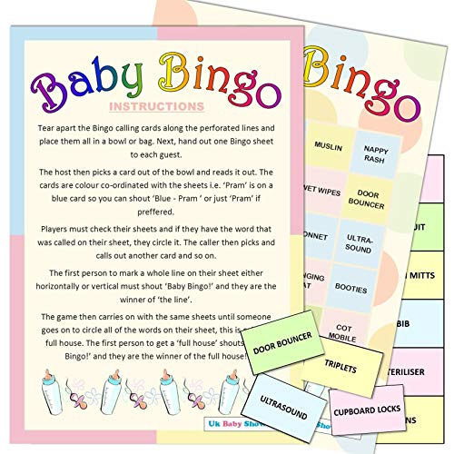 20 Sheet Baby Shower Bingo - Neutral from Uk Baby Shower Co