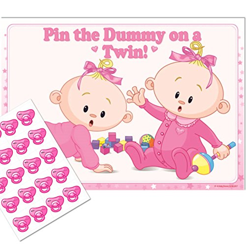 Twins Baby Shower Game - Pin the Dummy on a TWIN! (20 Dummies NO Blindfold, PINK) from Uk Baby Shower Co Ltd