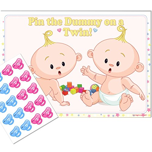 Twins Baby Shower Game - Pin the Dummy on a TWIN! (20 Dummies NO Blindfold, UNISEX) from Uk Baby Shower Co Ltd