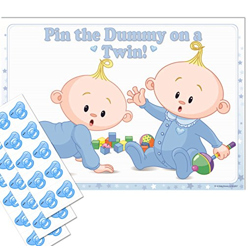 Twins Baby Shower Game - Pin the Dummy on a TWIN! (30 Dummies NO Blindfold, BLUE) from Uk Baby Shower Co Ltd