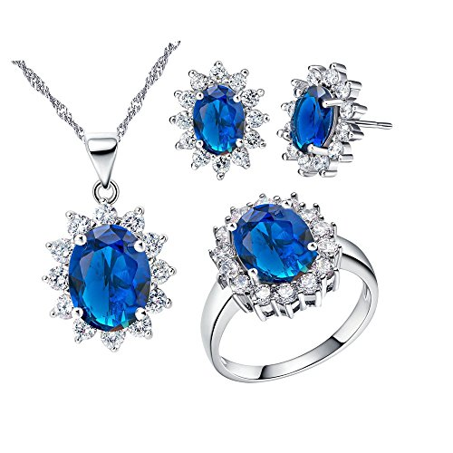 Uloveido Blue Cubic Zirconia Wedding Jewellery Set Necklace Earrings and Ring Size L for Women T466 from Uloveido