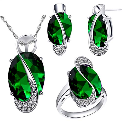 Uloveido Female Large Oval Green Crystal Necklace Charm Choker Necklace and Stud Earrings Rings Bridesmaid Jewellery Set for Women T472 from Uloveido
