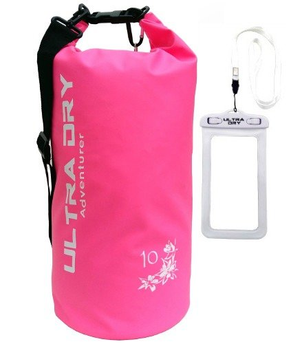 Premium Waterproof Bag, Sack with phone dry bag and long adjustable Shoulder Strap Included, Perfect for Kayaking/Boating/Canoeing/Fishing/Rafting/Swimming/Camping/Kayaking (Pink, 20 L) from Ultra Dry Adventurer