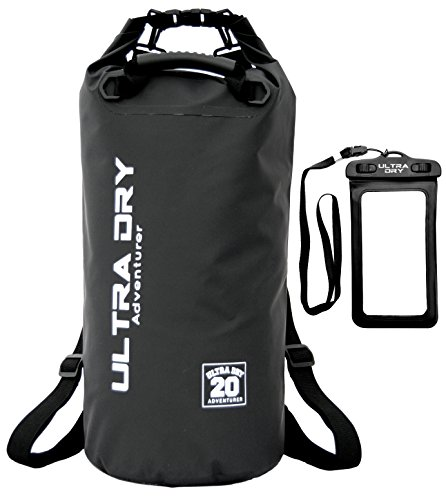 Premium Waterproof Bag, Sack with phone dry bag and long adjustable Shoulder Strap Included, Perfect for Kayaking/Boating / Canoeing/Fishing / Rafting/Swimming / Camping/Snowboarding (black, 20 L) from Ultra Dry Adventurer