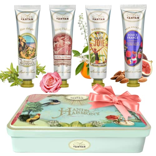 Un Air d'Antan® Set of 4 Premium Vintage French Hand Cream 4x25ml in a Lovely Tin Box, Perfume Verbena, Rose, Lily of the Valley, Almond - Birthday or Christmas Gift Idea For Her, Women, Secret Santa from Un Air d'Antan