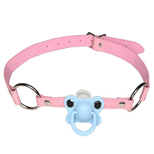 DDLG/ABDL Adult Baby Pacifier Gag with Choker Collar Pink (Blue) from Una