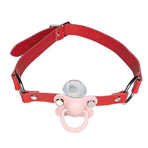 DDLG/ABDL Adult Baby Pacifier Gag with Choker Collar red (Pink) from Una