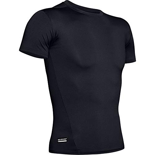 Under Armour UA TAC HeatGear COMP Tee, Cooling & Breathable Running Shirt for Men, Athletic T Shirt with Anti-Odour Material Men, Black (Black/Clear (001)), S from Under Armour