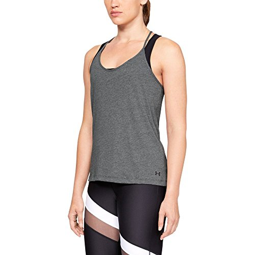 Under Armour Solid Fashion Tank - Charcoal Heather/Tonal, Large from Under Armour