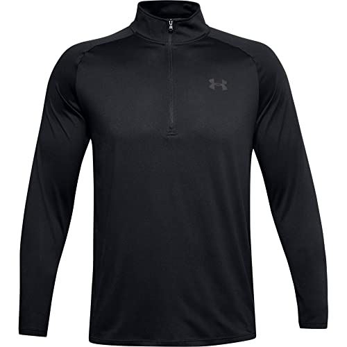 Under Armour mens Tech 2.0 1/2 Zip, Versatile Warm Up Top, Light and Breathable Zip Up Top for Working Out, Black, L from Under Armour