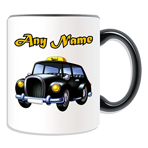 Personalised Gift - Black Cab Mug (Transport Design Theme, Colour Options) - Any Name / Message on Your Unique - London Taxi Hackney Carriage Hack Vehicle Automobile Remise Driver Taxicab Public Hire from UNIGIFT