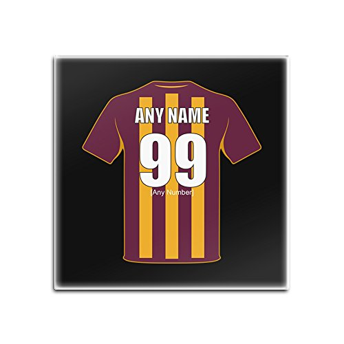 UNIGIFT Personalised Gift - Bradford City Square Glass Coaster (Football Club Design Theme, Colour Options) - Any Name/Message on Your Unique Mat Pad - The Bantams Paraders Citizens SFC from UNIGIFT