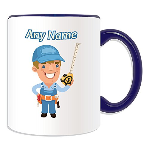 UNIGIFT Personalised Gift - Builder/Surveyor Mug (Career Design Theme, Colour Options) - Any Name/Message on Your Unique Mug - Engineer Worker Staff from UNIGIFT