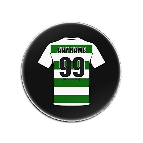 UNIGIFT Personalised Gift - Celtic Glass Round Coasters (Football Club Design Theme, Colour Options) - Any Name/Message on Your Unique Mat Pad - The Bhoys Hoops Celts from UNIGIFT